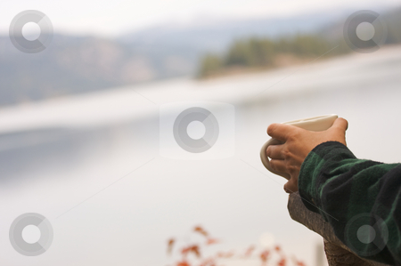 Morning Coffee on the Lake stock photo, Woman Enjoys Morning Cup Coffee on the Lake. by Andy Dean