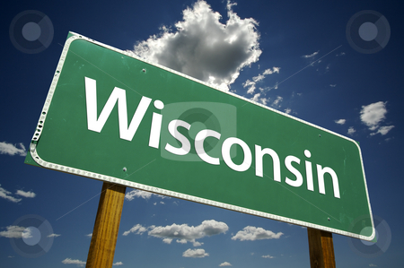 Wisconsin Road Sign stock photo, Wisconsin Road Sign with dramatic clouds and sky. by Andy Dean