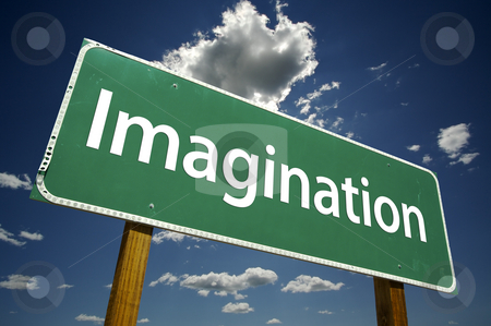 Imagination Road Sign stock photo, Imagination Road Sign with dramatic clouds and sky. by Andy Dean