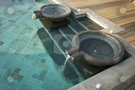 Exotic Pool Fountains stock photo, Exotic Pool Fountains, Tiled Pool and Steps by Andy Dean
