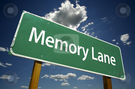 Memory Lane Road Sign stock photo, Memory Lane Road Sign with dramatic clouds and sky. by Andy Dean
