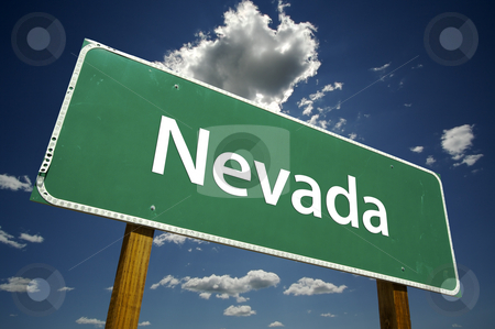 Nevada Road Sign stock photo, Nevada Road Sign with dramatic clouds and sky. by Andy Dean