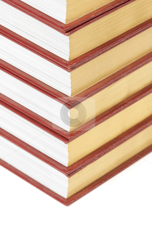 Stack of Books stock photo, Stack of Books Isolated on a White Background. by Andy Dean
