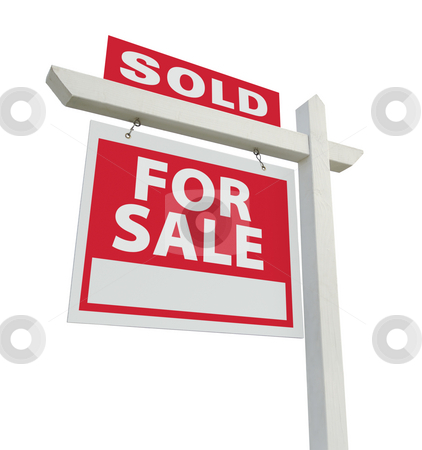 Sold For Sale Real Estate Sign stock photo, Sold For Sale Real Estate Sign Isolated on a White Background. by Andy Dean