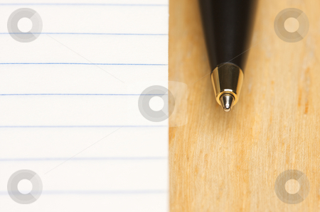 Pen and Pad of Paper stock photo, Pen and Pad of Lined Paper by Andy Dean