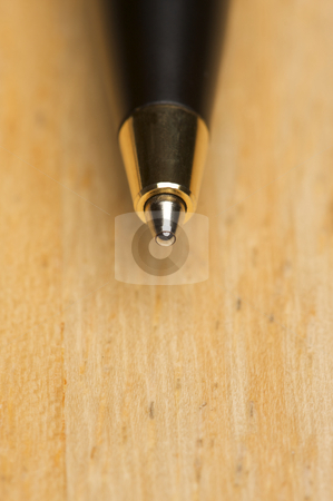 Ball Point Pen Macro on Wood stock photo, Ball Point Pen Macro on Wood Background with Narrow Depth of Field by Andy Dean