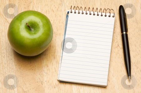 Pen, Paper and Apple stock photo, Pen, Paper and Apple on a Wood Background by Andy Dean