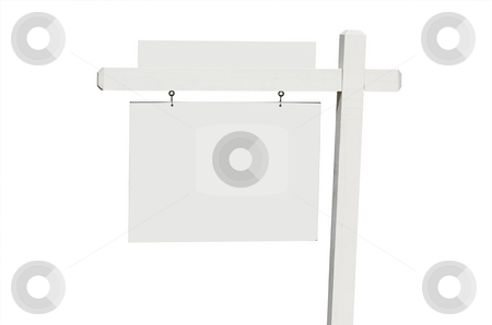 Blank Real Estate Sign stock photo, Blank Real Estate Sign Isolated on a White Background. by Andy Dean