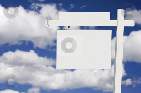 Blank Real Estate Sign on Clouds & Sky Background  stock photo, Blank Real Estate Sign on Clouds & Sky Background - Ready for your own message. by Andy Dean