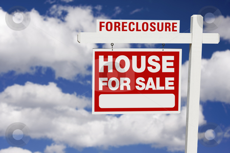 Foreclosure Real Estate Sign stock photo, Foreclosure Home For Sale Real Estate Sign on Clouds by Andy Dean