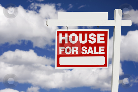 Home For Sale sign on Clouds stock photo, Home For Sale Real Estate Sign on Clouds with Blank Section. by Andy Dean