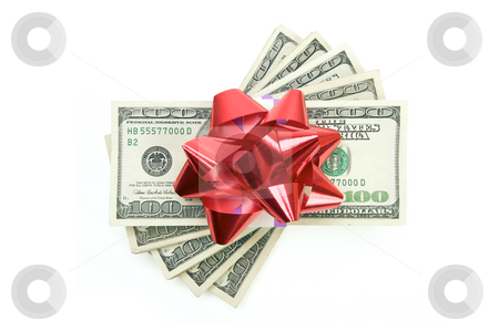 Stack of Money with Bow stock photo, Stack of Money with Bow Isolated on a White Background. by Andy Dean