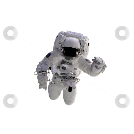 Astronaut stock photo, Flying astronaut on a white background.  Some components of this image are provided courtesy of NASA, and have been found at nasaimages.org by Henrik Lehnerer