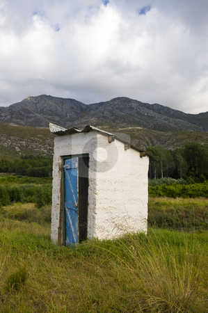 Outhouse stock photo, An old derelict outhouse on a farm. by Nicolaas Traut