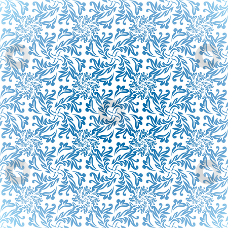 Blue floral light stock photo, Seamless blue and white background repeating wallpaper by Michael Travers