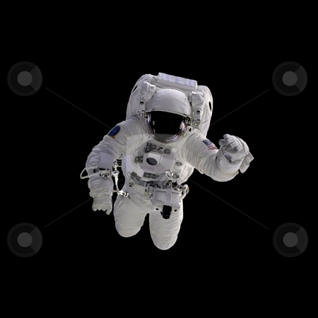 Astronaut stock photo, Flying astronaut on a black background.