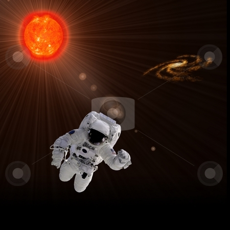 Astronaut And Sun stock photo, Flying astronaut on a background with Sun.  Some components of this image are provided courtesy of NASA, and have been found at nasaimages.org by Henrik Lehnerer
