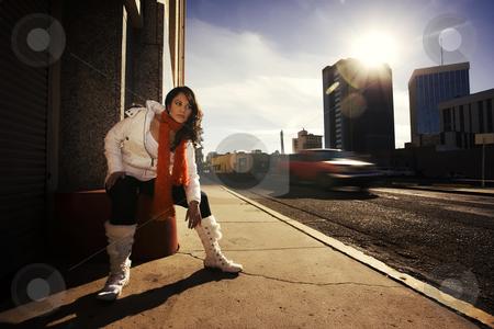 Hispanic Woman stock photo, Hispanic woman in an urban setting by Scott Griessel