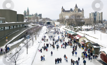 Rideau Canal stock photo, Skaters in ice of Rideau Canal, Ottawa. by Pavel Cheiko