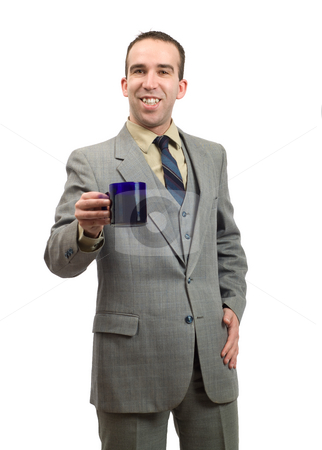 Businessman On Coffee Break stock photo, A young businessman smiling because he is on his coffee break, isolated against a white background by Richard Nelson