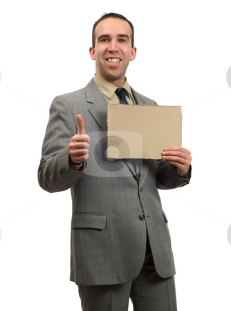 Job Market stock photo, A businessman hopeful about the job market holding a blank cardboard sign, isolated against a white background by Richard Nelson