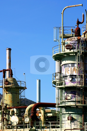 Oil Refinery stock photo, Abandoned oil refinery in Ventura California by Henrik Lehnerer