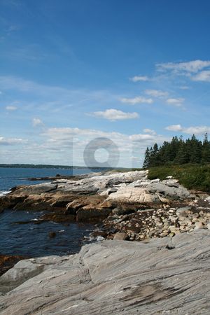 Rocky Shoreline, Maine stock photo, A rocky ledge along the coast of Maine by Tom and Beth Pulsipher