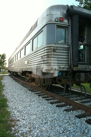 Last Train Car stock photo, The last car of a train, leaving the station by Tom and Beth Pulsipher