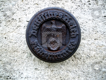 German Reich Seal stock photo, Seal of the German Reich on an old building by Henrik Lehnerer