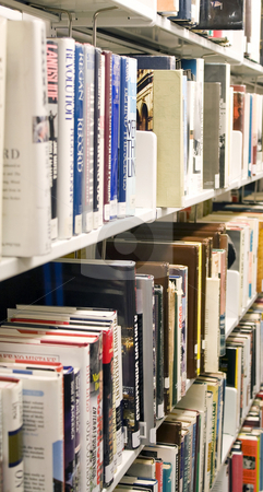 Library Book Shelf stock photo, Shelves full of books in a public library. by Todd Arena