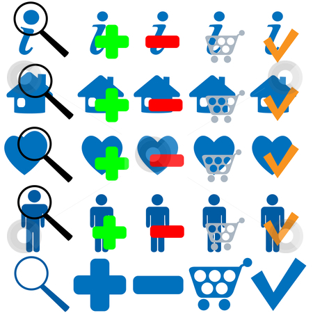 FIND BUY OK ADD MORE HOME SHOPPING FAVES Icon Set stock vector clipart, FIND BUY OK ADD MORE HOME SHOPPING FAVES Icon Set in blue. 25 useful symbols to mix and match. by Michael Brown