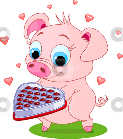 Love_pig stock vector clipart, Cute little piglet holding a heart shape valentine box of chocolates by Anna Vtlichkovsky