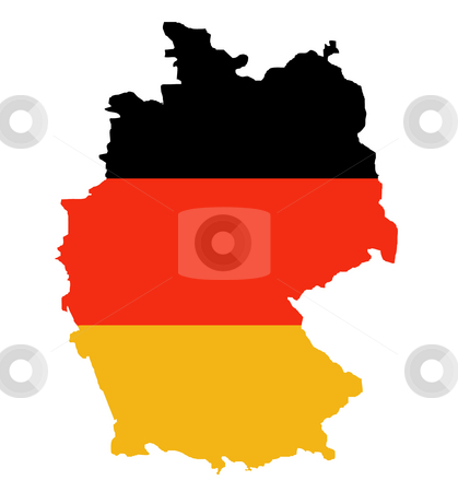 Outline map of Federal Republic of Germany stock photo, Outline map of Federal Republic of Germany in colors of flag, isolated on white background. by Martin Crowdy
