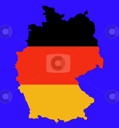 Outline map of Federal Republic of Germany stock photo, Outline map of Federal Republic of Germany in colors of flag, isolated on blue background. by Martin Crowdy