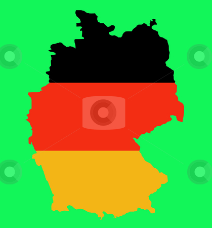 Outline map of Federal Republic of Germany stock photo, Outline map of Federal Republic of Germany in colors of flag, isolated on green background. by Martin Crowdy