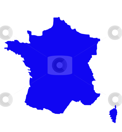 Outline map of France in blue stock photo, Outline map of country of France in blue, isolated on white background. by Martin Crowdy