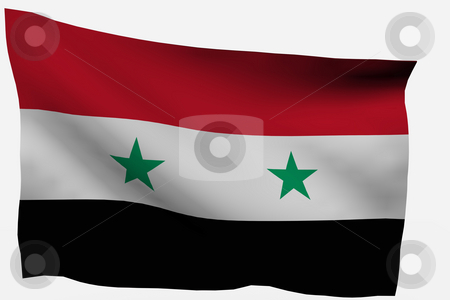 Syria 3d flag stock photo, Syria 3d flag isolated on white background by Santiago Hernandez