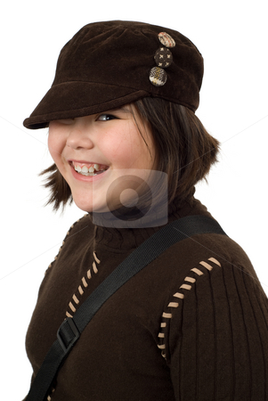 Smiling Preteen stock photo, Portrait of a smiling preteen, isolated against a white background by Richard Nelson