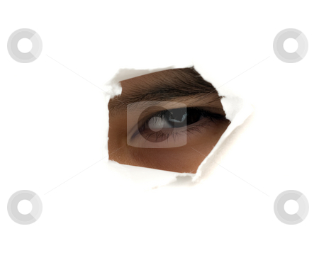 Spy stock photo, A childs eye looking through a hole in your screen by Richard Nelson
