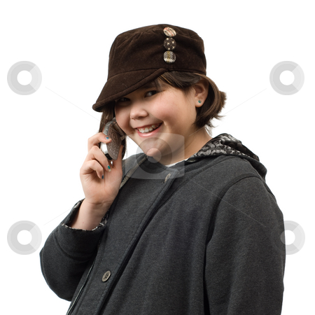 Phone Conversation stock photo, A young child having a phone conversation, isolated against a white background by Richard Nelson