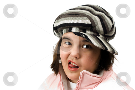 Silly Face stock photo, A young girl making a silly face, isolated against a white background by Richard Nelson