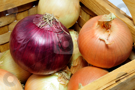 Red Onion stock photo, Yellow and red onions in a wooden basket by Lynn Bendickson
