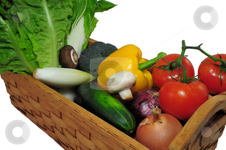 Assorted Vegtables stock photo, Assorted vegtables in a wooden basket on a light background by Lynn Bendickson