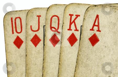 Royal flush old vintage poker cards close up. stock photo, Royal flush old vintage poker cards close up. by Stephen Rees