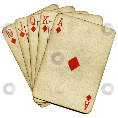 Royal flush old vintage poker cards isolated over white. stock photo, Royal flush old vintage poker cards isolated over white. by Stephen Rees