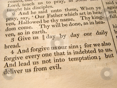 The Lord's Prayer Luke 11:2-4 from an 1847 Bible. stock photo, The Lord's Prayer Luke 11:2-4 from an 1847 Bible. by Stephen Rees