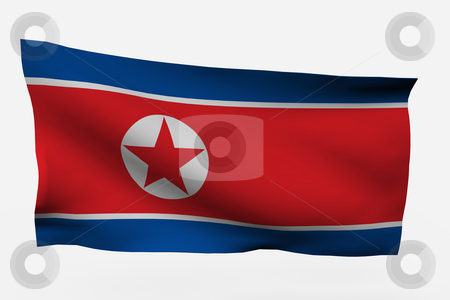 the north korean flag. the north korean flag.