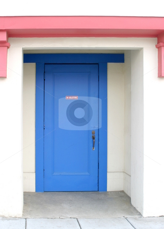 No Solicitors stock photo, Blue door with the sign No Solicitors by Henrik Lehnerer