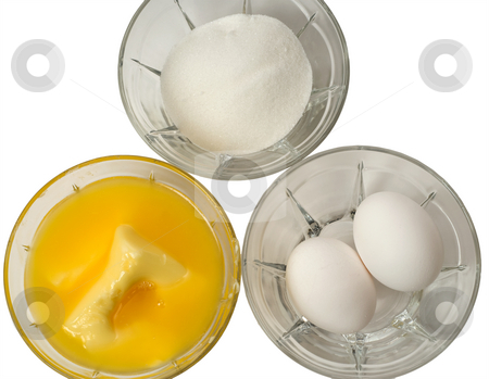 Baking Ingredients stock photo, Three glass bowls filled with sugar, margarine, and eggs, isolated against a white background by Richard Nelson