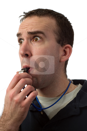 Coach stock photo, Closeup of a coach blowing on a whistle, isolated against a white background by Richard Nelson